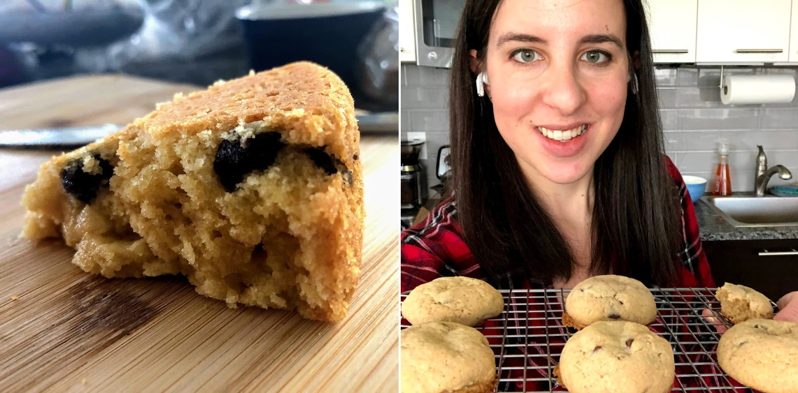 A cakie, left, and breakies, right, with Robinson.